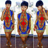 Women's Summer African Print Casual Bodycon Bohemia Sleeveless Party Mini Dress