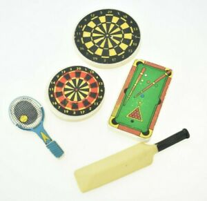 Awesome Vintage 80's Erasers Rubbers x 5 Sports Cricket Snooker Tennis & Darts