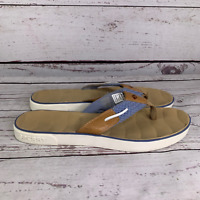 Sperry Top Sider Womens Tan Blue Leather Flip Flop Thong Sandals Size 11M