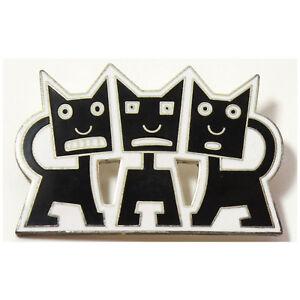 "Vintage ACME Studio ""THREE CATS"" Enamel Brooch by Artist Michael Bedard"