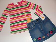 Gymboree Cheery All The Way Girls Size 6 Top Stripe Dog Denim Skirt NEW NWT