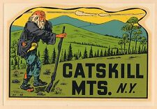 "VINTAGE ORIGINAL 1950 RIP VAN WINKLE ""CATSKILL MOUNTAINS"" NEW YORK TRAVEL DECAL"