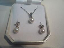 PLATA DE LEY 925 NUEVAS 45.7cm CADENA CUADRADA + colgante perla 7mm + PENDIENTES