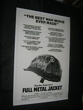 "Original FULL METAL JACKET Rare Critic's Style O/S 27"" x 41"" ROLLED! MAKE OFFER!"