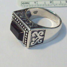 size 7 Sterling Silver 12gram 17x13mm top Rectangular Black Onyx band Ring