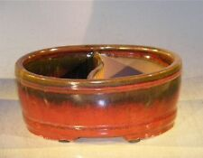 "Ceramic Bonsai Pot - P-Red Glazed Oval Land/Water Divided -8.0"" x 6.5"" x 3.25"""