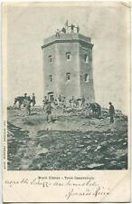 1902 Monte Cimone - La Torre dell'Osservatorio, cavalli uomini - FP B/N VG ANIM