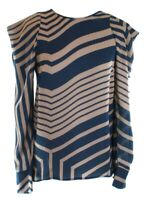 Stella McCartney Shift Blouse Brown and Navy UK 8, IT 38. Geo Stripe RRP £475