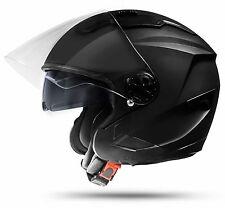 Motorradhelm Schwarz matt Größe: L mit Visier und Sonnenblende Jet Helm Piloten