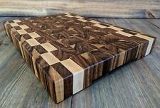 End Grain Cutting Board Butcher Block Board, Walnut and Maple 17x11X2 Handmade
