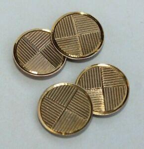 Vtg Art Deco Hallmark Gents Men's Round Dual Side 10k Solid Gold Cufflinks 4.5 g