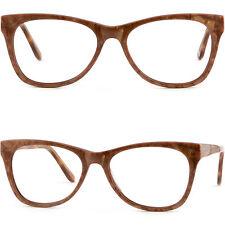 Men Women Acetate Plastic Frame Spring Loaded Hinges Prescription Glasses Brown