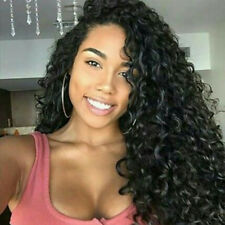 Women Heat Synthetic Lace Front Wigs Resistant Hair Full Curly Wig Party Black