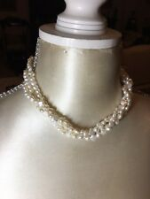 Triple Strand Twisted Freshwater Pearl Necklace 225 Pearls Bridal Gilded Clasp