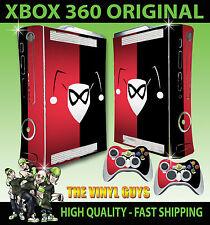 XBOX 360 ORIGINAL HARLEY QUINN LOGO RED BLACK BATMAN STICKER SKIN & 2 X PAD SKIN