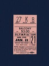 Red Wings vs Maple Leafs 1968 hockey ticket stub Bruce Gamble shutout