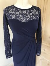 Ladies Coast Long Maxi Dress Size 8 Navy Blue Occasion Lace Evening Party Womens