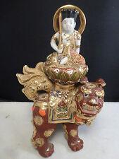 Moriage Japanese Kutani Figure and Foo Dog Shishi 19c