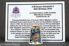 H.M Queen Elizabeth II 90th Birthday 2016 Limited Ed+CertThimble B/157