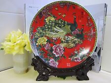 NEW - Jingdezhen Ceramic Plate Craft- Red with Carved Wooden Stand