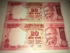 20 Rupees India 2007 Banknote UNC x2 in series
