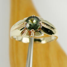 1.25 carat Round Green Australian Parti Sapphire Ring Genuine 375 9k Yellow Gold