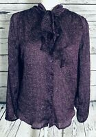 New York & Company Women's Small Stretch Blouse Purple Long Sleeves Sheer Button