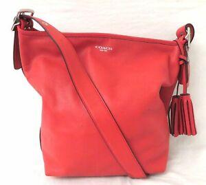 Coach 19889 Red Leather Duffle Shoulder Bag Purse