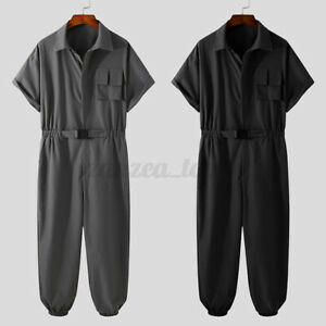 Mens Casual Romper Loose short Sleeve Playsuit Workout Jumpsuit Cargo Long Pants