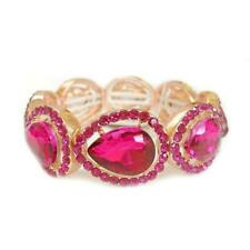 Stones ( 116 ) Gold Stretch Bracelet With Fuchsia