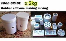 FOOD GRADE Silicone Rubber Mould making Mix 2KG 1:1 Translucent FREE SHIPPING