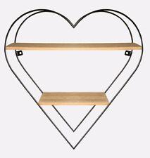Herz Regal mit 2 Ablagen Metall und Holz 50 x 50 x 15 cm Romantisches Dekoregal