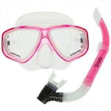 OceanPro Coral Scuba Diving and Snorkeling Mask and Snorkel Set - Pink