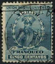 Peru 1896-1900 SG#341, 5c Turquoise Blue, Pizarro Used #E1265