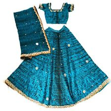 Indian Bollywood Style Sequin Lehenga Choli Dupatta 3 PC Set Party Dress
