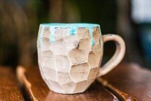 Geometric mug English cut Abstract mug Coffee mug Pottery mug Ceramic mug Blue m