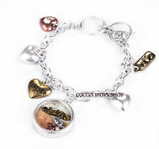SILVER VINTAGE LOVE LETTER HEART ROUND GLASS CHARMS BRACELET CHAIN GIFT