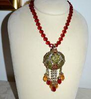 NIB $250 HEIDI DAUS *Holiday Sparkle* Christmas Crystal Pendant Pin Necklace