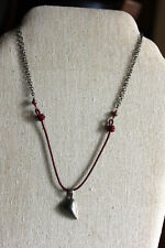"Silpada 16"" 925 Sterling Silver Red Leather Pyrite Heart Charm Necklace N1254"
