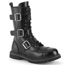 Demonia RIOT-12BK Men's Black Leather Steel Toe Combat Ankle Boots Punk Goth