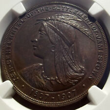 1907 Jamestown Expo Official Medal - HK-346, MS63 NGC - Virginia Token, Bronze