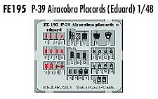 Eduard 1/48 Bell P-39 AIRCOBRA CARTELLI a colori di Eduard # FE195