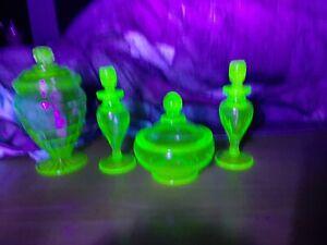 Antique Uranium Glass Perfume Bottle Set and Powder Jar & Lidded Jar