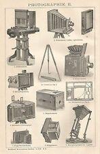 B0400 Apparecchi fotografici - Xilografia d'epoca - 1903 Vintage engraving