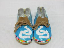 NATIVE AMERICAN FULL BEADED MOCCASINS 8.5 INCH STUNNING BLUE HORSESHOE DESIGN