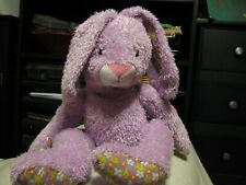 "Plush stuffed rabbit bunny purple lavendar 12"" seated flowers paws floppy ears"