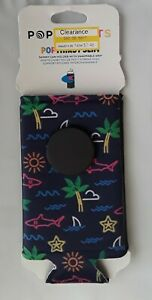 NEW PopSockets PopThirst Slim Soda Can Sleeve Neon Tropical Sharks Palm Trees
