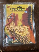 1981 Beistle 99809 turkey Madras Art Tissue Honeycomb Centerpiece 9� Decoration