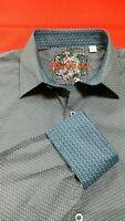 Robert Graham Men's M Cade Blue Long Sleeve Stretch Shirt Flip Cuff NWT $198