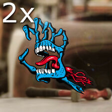 2x pieza Screaming skeleton mano sticker original pegatinas skate surf 85mm